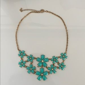 NWOT aqua and gold floral necklace with